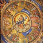 Christ in majesty,19th century wall painting, Rila monastery, Bulgaria