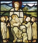 Christ blessing the little children,19th century stained glass by Edward Burne-Jones from William Morris studio, Church of St Martin, Brampton, Cumbria, England, Great Britain
