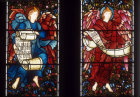 Two angels with scrolls, East window by Edward Burne-Jones, 1887, St Martin