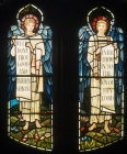 Two angels with scrolls, south aisle, West window by Burne-Jones, 1898,  St Martin