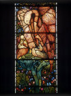 Pelican in its piety, feeding young with own blood, detail, East window, by Burne-Jones, 1887, St Martin