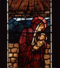 Mary and Christ child, detail of Nativity window by Edward Burne-Jones, 1881, All Hallows Church,  Allerton, Liverpool, Lancashire, England