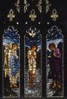 Baptism of Jesus, 19th century stained glass by Edward Burne-Jones, All Hallows Church, Allerton, Liverpool, England, Great Britain