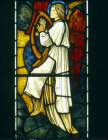 Angel with harp, detail, angels of Paradise window, by Edward Burne-Jones, 1881, All Hallows Church, Allerton, Liverpool, Lancashire, England