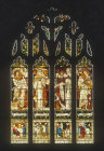 Four evangelists with their symbols, West window, by Edward Burne-Jones, 1879, Al Hallows Church, Allerton, Liverpool, Lancashire, England