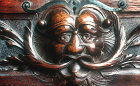 Green Man, carving on drawer of tallboy secretaire by W.S.Williamson, circa 1903, private property