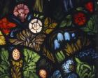 Flowers, detail from the Ascension window by Edward Burne-Jones, aisle of the Church of All Hallows, Allerton, Liverpool, England, Great Britain