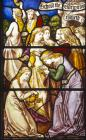 Parable of the Ten Virgins, 19th century stained glass, Church of All Saints, Hillesden, Buckinghamshire, England, Great Britain