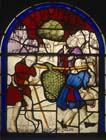 Joshua and Caleb, the two spies returning from the promised land of Canaan bearing grapes, 16th century stained glass, Church of St Leonard, Marston Bigot, Somerset, England, Great Britain