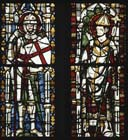 St George and St Leo, 14th century stained glass, north choir, Wells Cathedral, Somerset, England, Great Britain