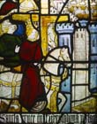 Queen Helena searching for the true cross, 15th century stained glass, Church of St Matthew, Morley, Derbyshire, England, Great Britain
