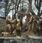 France, Lourdes, Calvary sixth station, St Veronica wipes the face of Jesus