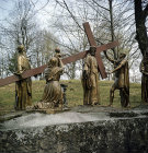 France, Lourdes, Calvary ninth station, Jesus falls for the third time