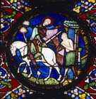 St Martin dividing his cloak, 13th century stained glass, north east transept, Canterbury Cathedral, Kent, England, Great Britain
