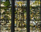 St Francis, Gilbert White memorial window, stained glass 1920 by Gascoyne and Hinks, Church of St Mary, Selborne, England, Great Britain