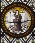 St Clare, 16th century Flemish stained glass roundel, Church of St John, Rownhams, Hampshire, England, Great Britain