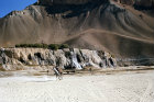 Afghanistan, Hindu Kush at Band-I-Amir, travellers on horseback in valley pass