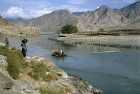 Afghanistan, Kunar Valley, ferry over the river