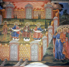 Bulgaria, Rila Monastery, the Last Judgement, St Peter opening the Gates of Paradise, sitting Abraham, Isaac and Jacob