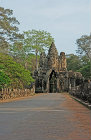 Causeway over moat leading to south gate, Angkor Thom, completed late twelfth century by King Jayavarman VII, Cambodia