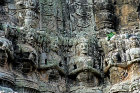 Relief carving of praying figures, south gate, Angkor Thom, completed late twelfth century by King Jayavarman VII, Cambodia