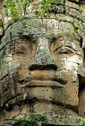 One of four carved faces on gopura, west gate, Angkor Thom, completed late twelfth century by King Jayavarman VII, Cambodia