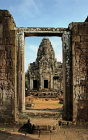 Bayon Temple, west prasat, seen through west gate in third enclosure, south side, Angkor Thom, Cambodia