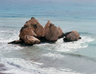 Paphos Cyprus rocks in a bay where legend says that Aphrodite rose from the waves