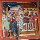 Cyprus, Platanistasa, Church of the Holy Cross, Christ before Caiaphas, 15th century wall painting by Philip Goul