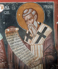 Cyprus, Platanistasa, Church of the Holy Cross, St Heracleides,  15th century wall painting