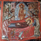 Cyprus, Platanistasa, the Dormition 15th century mural by Philip Goul in the Church of the Holy Cross