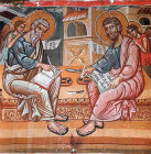 Saints Matthew and Luke, painted by Philip Goul, 1453,  Church of the Holy Cross, Platanistasa, Cyprus