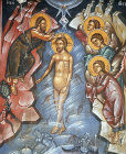 Cyprus, Paleochorio, the Baptism of Christ, 15th century mural in the Church of the Saviour