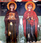 Saints Paraskevi (left) second century martyr, and Marina (right), circa 1466, Church of the Saviour, Paleochorio, Cyprus