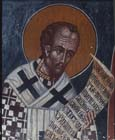 St John Chrysostom, 15th century wall painting by Philip Goul, Church of the Holy Cross, Platanistasa, Cyprus