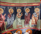 Communion of the Apostles, by Philip Goul, fifteenth century, Bartholomew, Simon, Andrew, John, Peter, Church of Holy Cross, Platanistasa, Cyprus