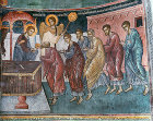 Communion of the Apostles, fifteenth century wall painting, church in St Neophytos Monastery, near Paphos, Cyprus
