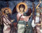 Cyprus, Trikomo, the Ascension, detail of St Peter and St Paul 12th century mural in the Church of Panagia Theotokos