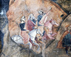 The three Kings follow the star, 15th century mural in the Church of St Neophytos, Cyprus