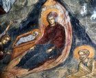 Cyprus, church of St Neophytos Monastery near Paphos, the Nativity, 15th century mural