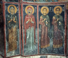 Cyprus, Asinou, narthex north bay 14th century AD, left to right St Eudokia, St Marina, St Kosmos and St Damian