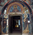 Cyprus, Asinou,  doorway from the narthex to the nave, the Mother of God, Eleousa, Barnabas, Mother of God of the pastures, hunting dogs, Jesus the Almoner