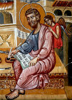 St Luke, painted by Philip Goul, 1453, Church of the Holy Cross, Platanistasa, Cyprus