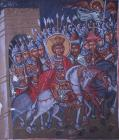 Triumphal entry of Constantine into Rome, 15th century wall painting, Church of the Holy Cross, Platanistasa, Cyprus