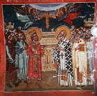 Cyprus, Platanistasa, Church of the Holy Cross, Exaltation of the Holy Cross, Emperor Heraclius and Patriarch Zacharias 15th century wall painting