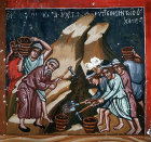 Cyprus, Platanistasa, Church of the Holy Cross, digging for the cross,  15th century wall painting