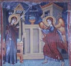 Annunciation, Church of Archangel Michael, Agios Sozomenos, Galata, Cyprus painting by Symeon Axenti, 16th century