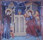 Annunciation, Church of Archangel Michael, Agios Sozomenos, Galata, Cyprus painting by Symeon Axenti, 16th century