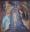 Baptism of Christ, 16th century wall painting by Symeon Axenti, Church of Archangel Michael, Galata, Cyprus
