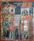Cyprus, Galata, Church of St Sozomenus, the Presentation of the Virgin Mary,  16th century painting by Symeon Axenti